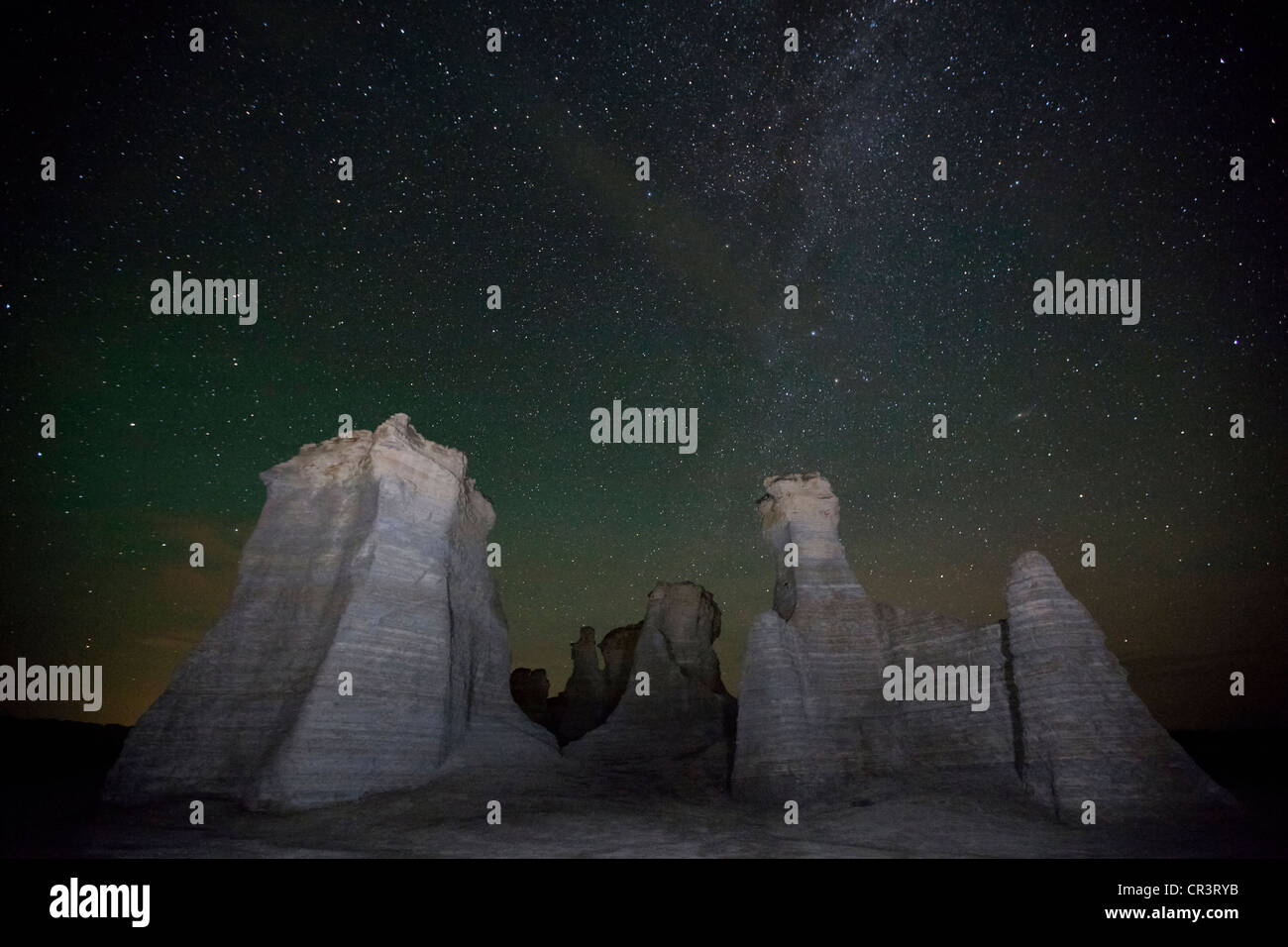 Kansas gove county grinnell - Rock Formations At Night With Milky Way Monument Rocks Chalk Pyramids Gove County Kansas Usa