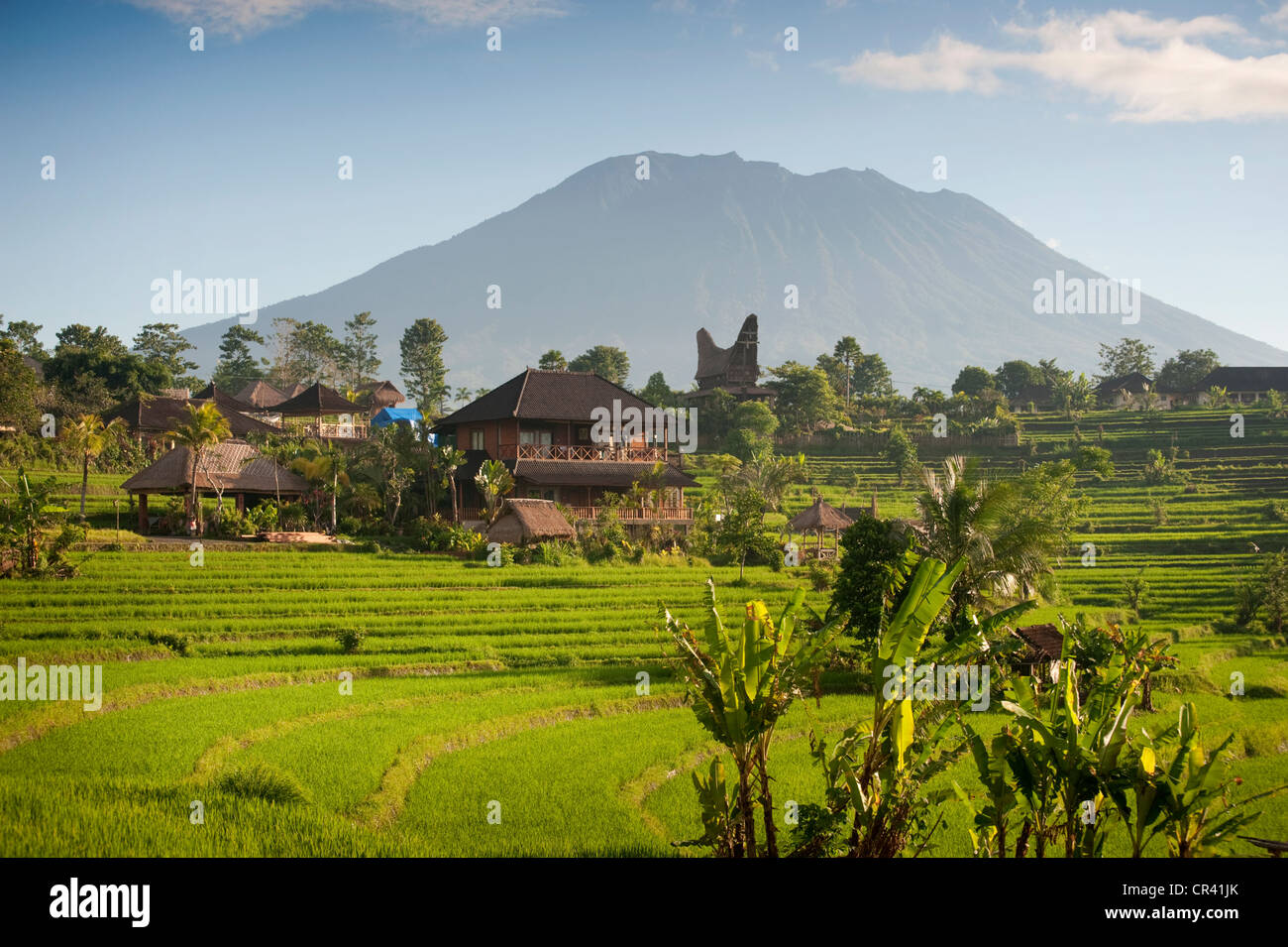 Restaurant overlooking Mushroom Bay with Mount Agung in the Stock ...