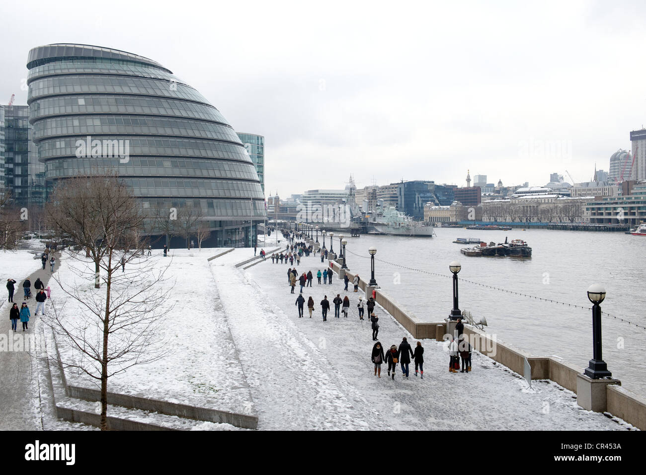 City Hall On The River Thames In The Winter Snow London