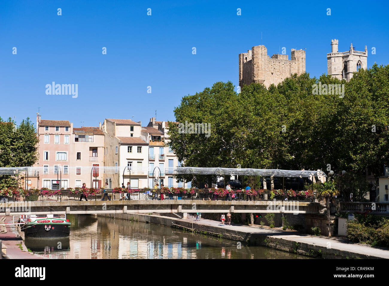 france aude narbonne canal de la robine unesco world heritage stock photo royalty free image. Black Bedroom Furniture Sets. Home Design Ideas