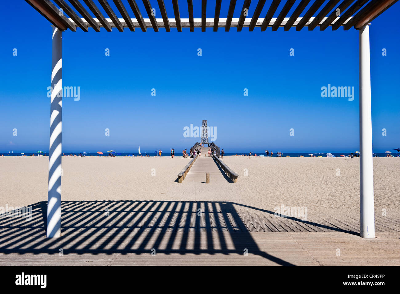 France, Aude, Corbieres, Port Leucate, wooden arbour on the beach in ...