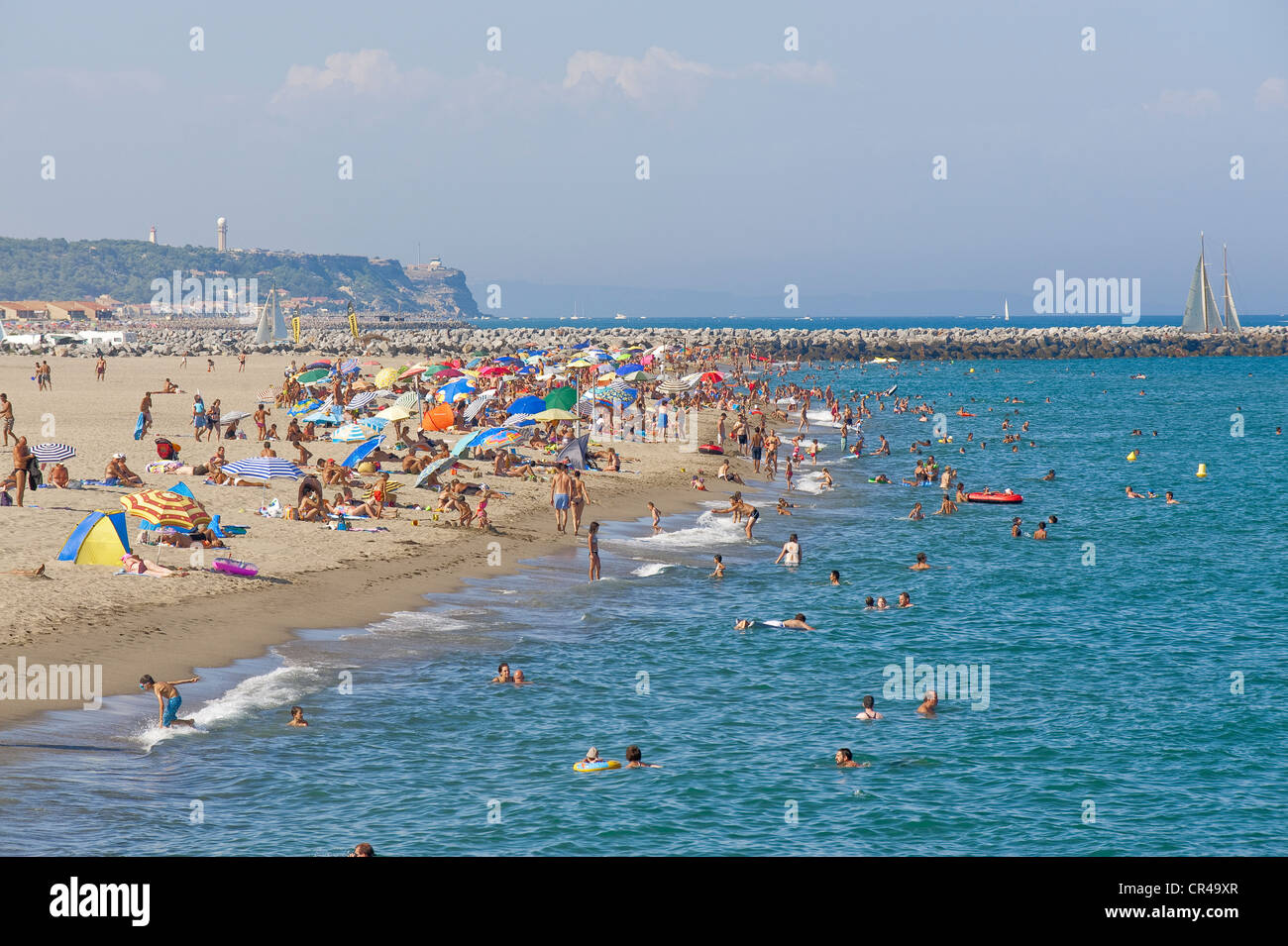 France, Aude, Corbieres, Port Leucate, beach of 18 km long Stock ...