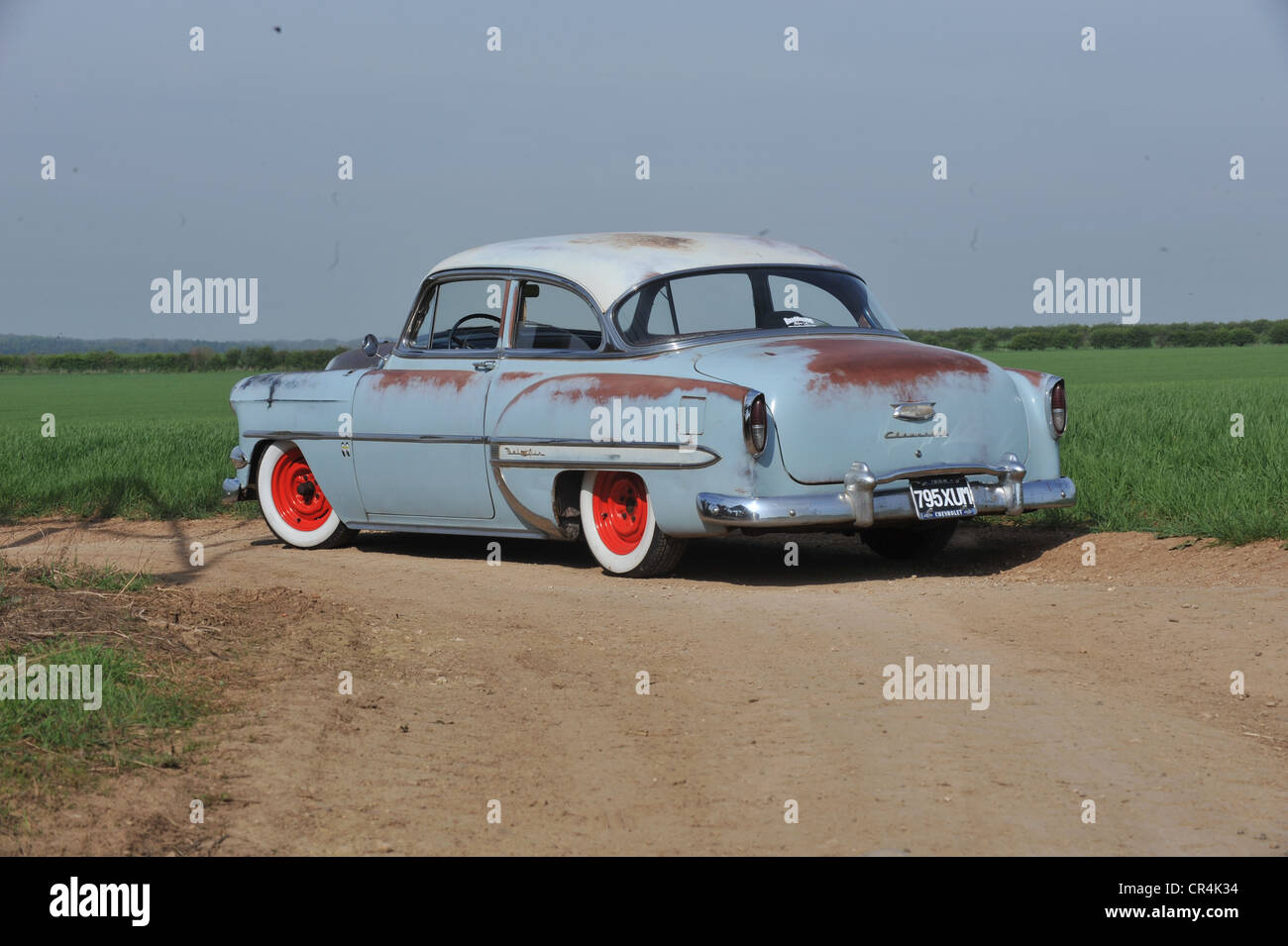 All American Chevy >> Rat look 1954 Chevrolet Bel air classic sun bleached American car Stock Photo, Royalty Free ...