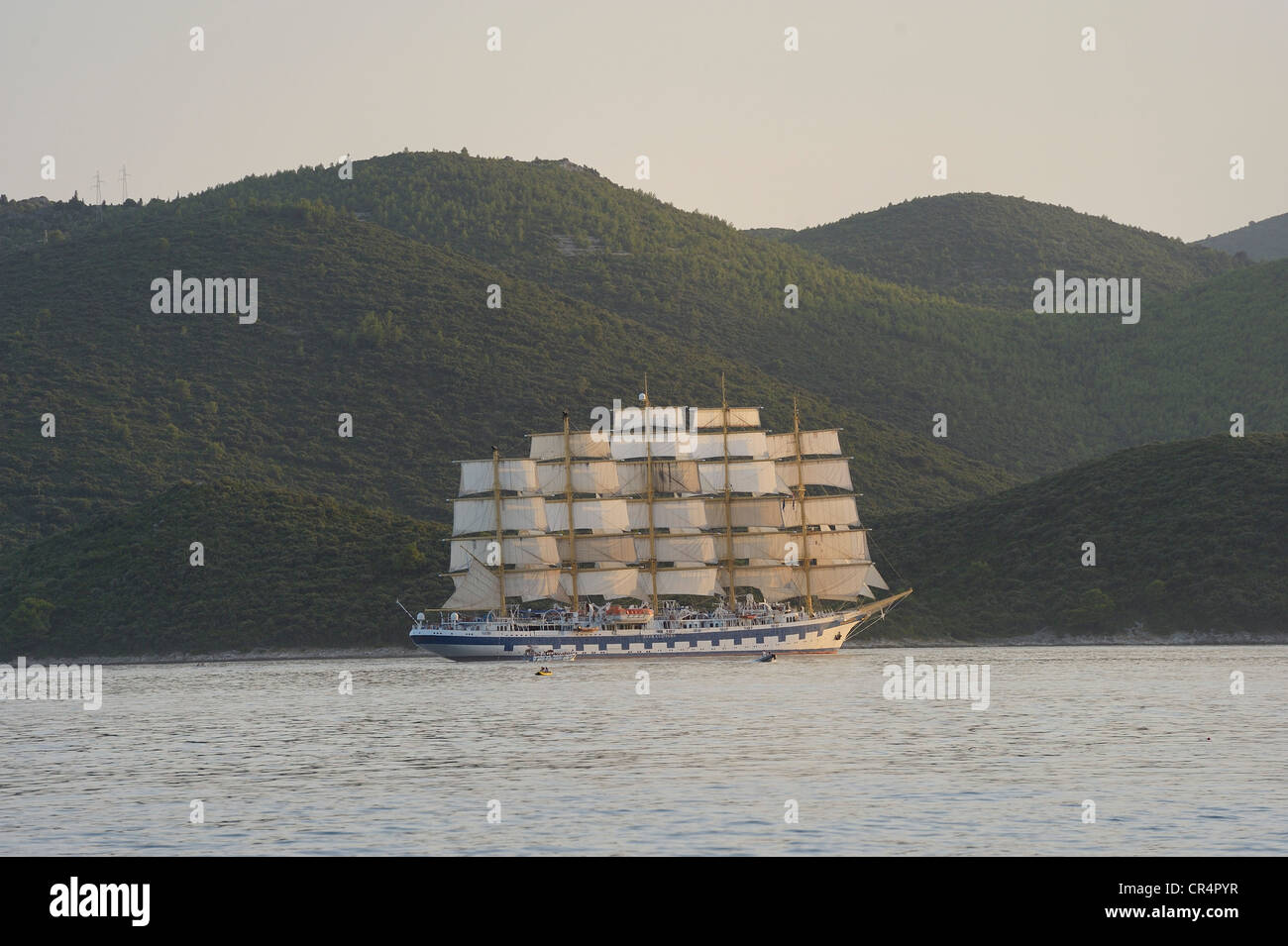 5 Masted Sailing Cruise Ship Royal Clipper Off The Island Of Stock Photo Royalty Free Image ...