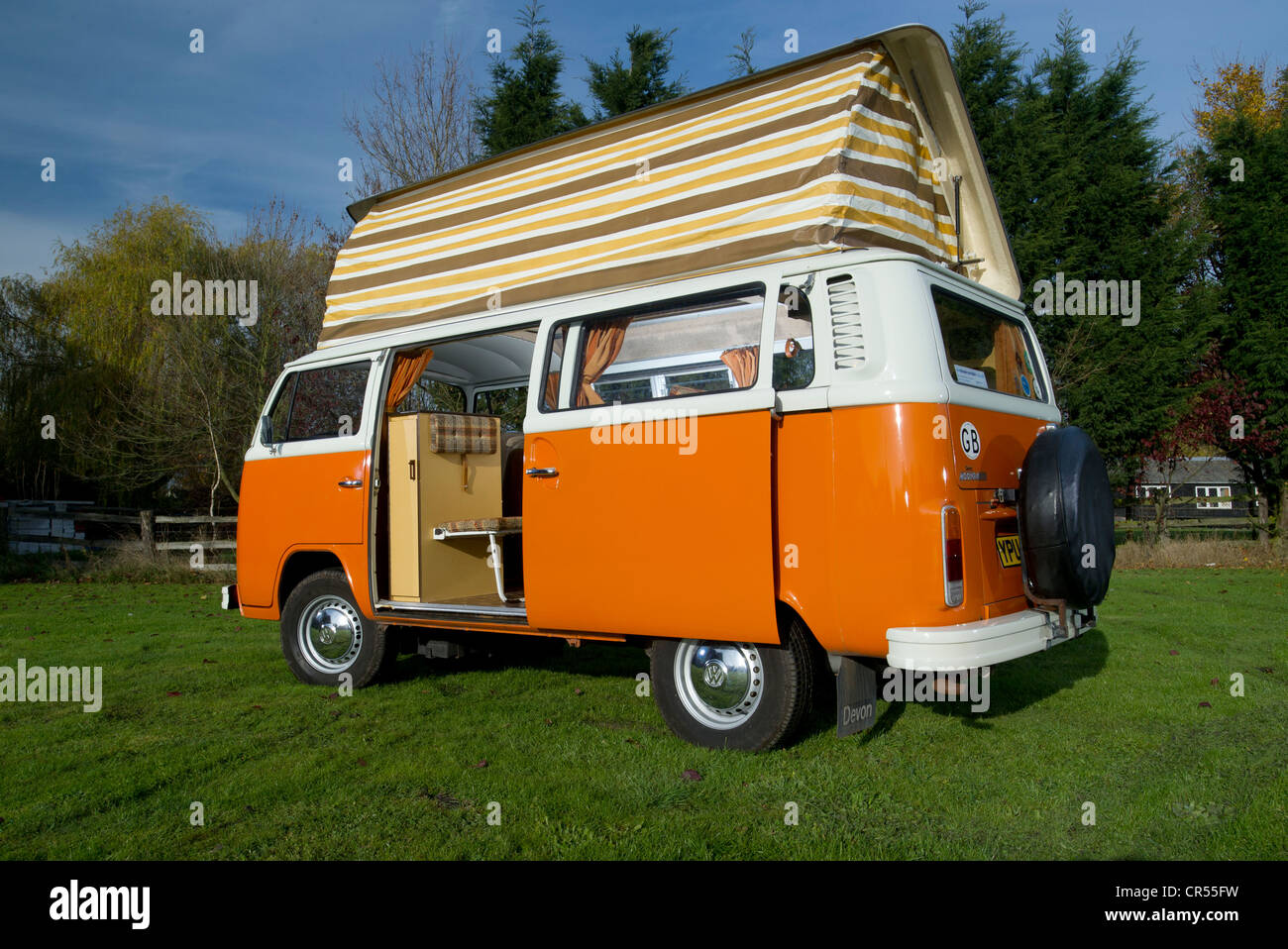 Bay WIndow VW Volkswagen Camper Van Micro Bus With Pop Top Roof Up