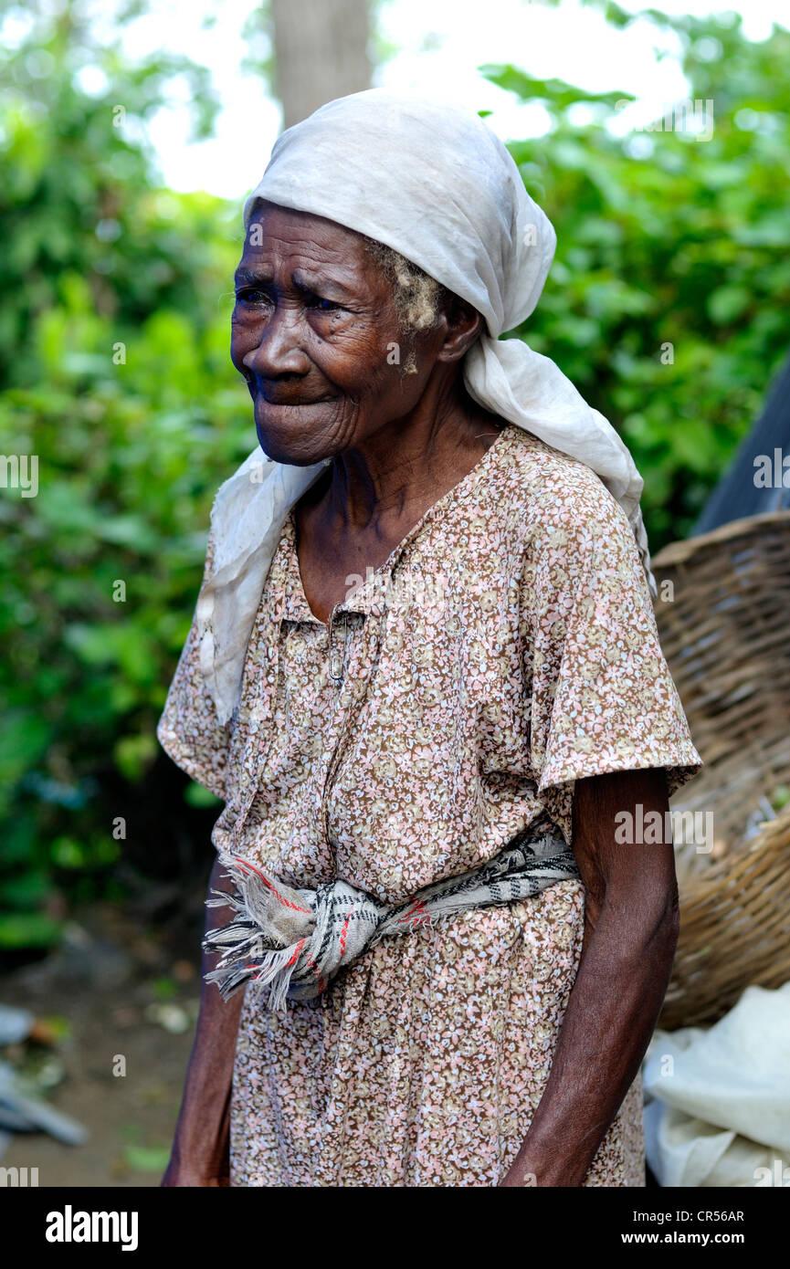 Old woman, Palmiste-a-vin near Leogane, Haiti, Caribbean, Central ...
