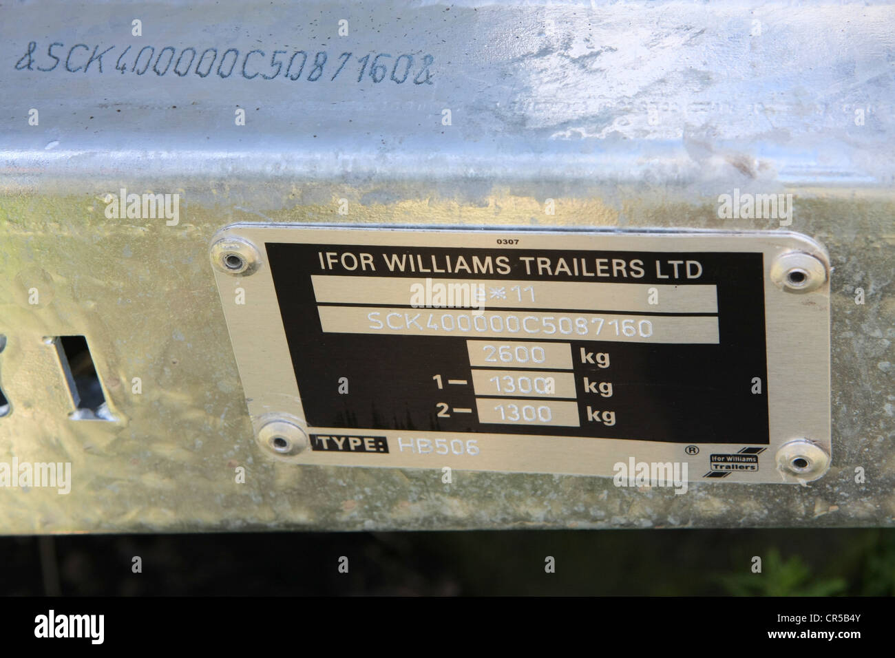 Chassis Plate And Number On An Ifor Williams Horse Trailer