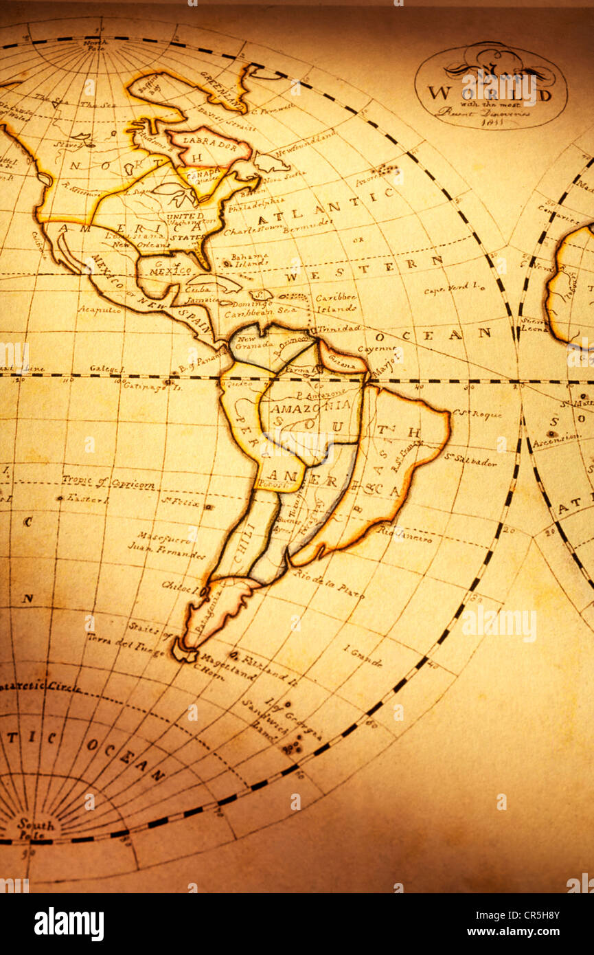 part of old world map showing americas focus is on south america