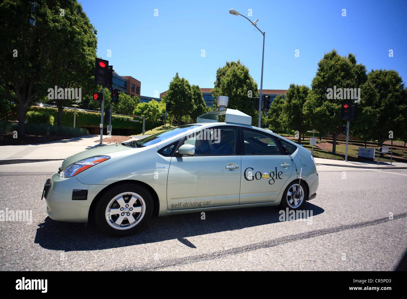 Google self driving car modified toyota prius silicon valley california