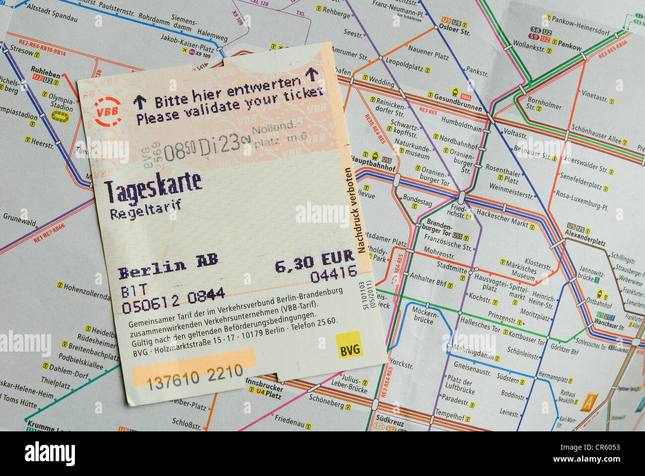 Berlin Germany A Validated Tageskarte travel Card On A Map – Germany Travel Map