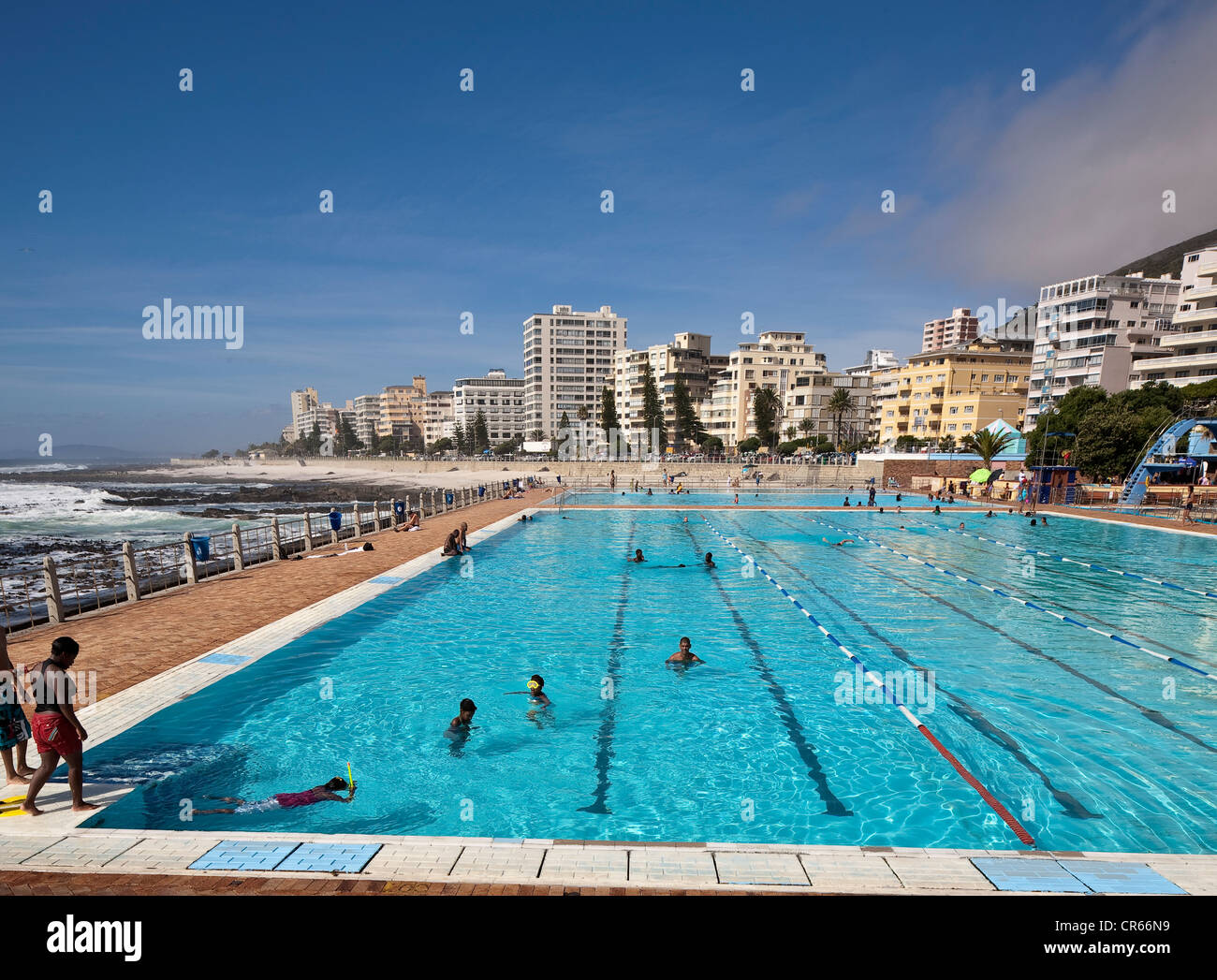 South Africa Western Cape Cape Town Sea Point Outdoor Swimming Stock Photo Royalty Free