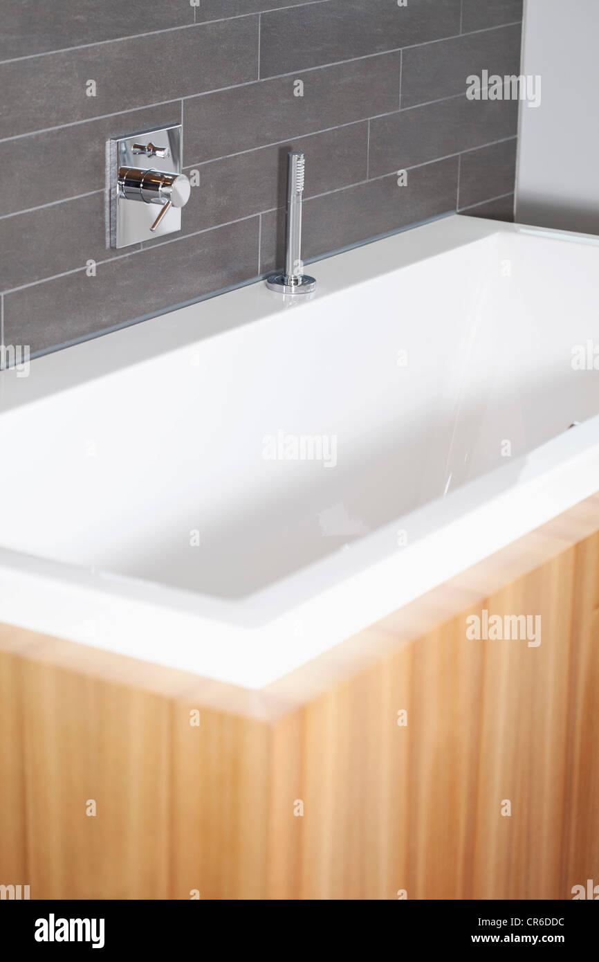 Germany, Bavaria, Bathroom with bathing tub Stock Photo, Royalty ...