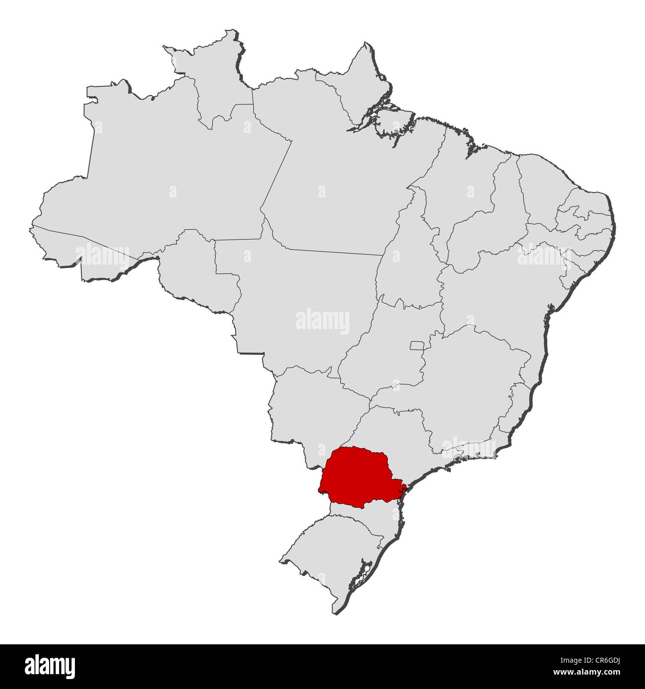 Political Map Of Brazil With The Several States Where Paraná Is - Political map of brazil