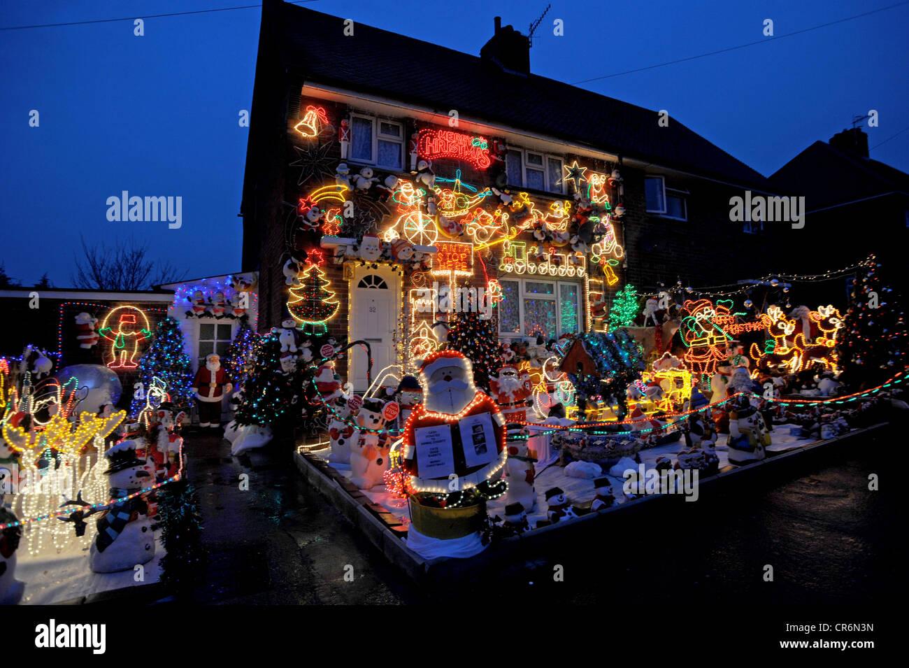 Christmas decorations house outside