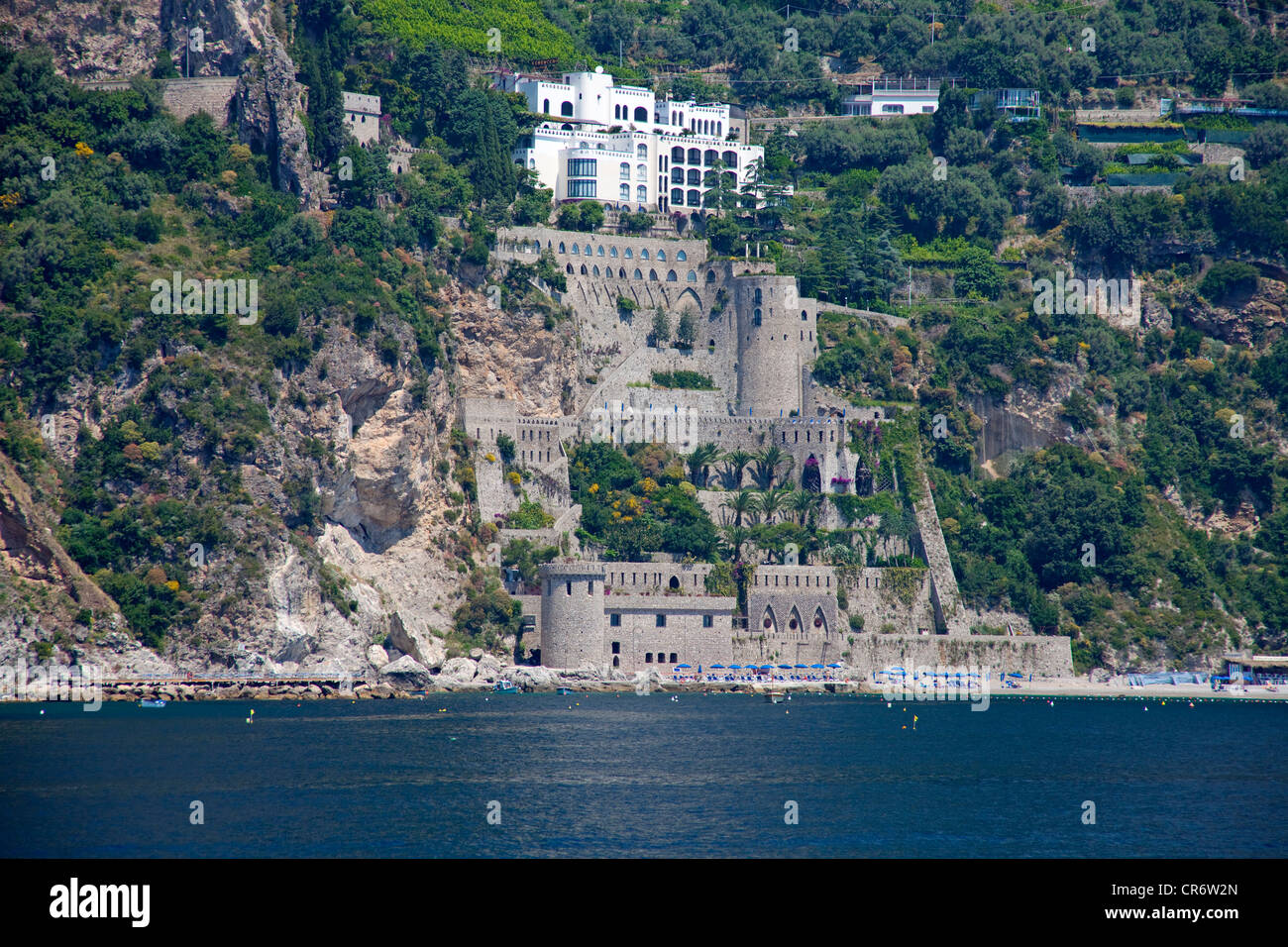 castle on the cliffs, coastal landscape with houses and villas