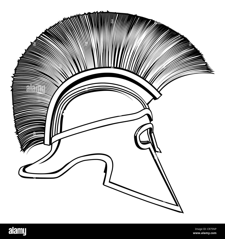 Illustration of spartan warrior on black background in 2 color vector black and white illustration of a side on ancient greek warrior helmet spartan helmet biocorpaavc