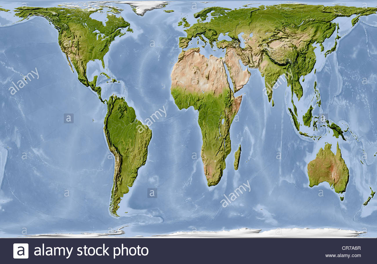 World map shaded relief in gall peters projection stock photo world map shaded relief in gall peters projection gumiabroncs Gallery