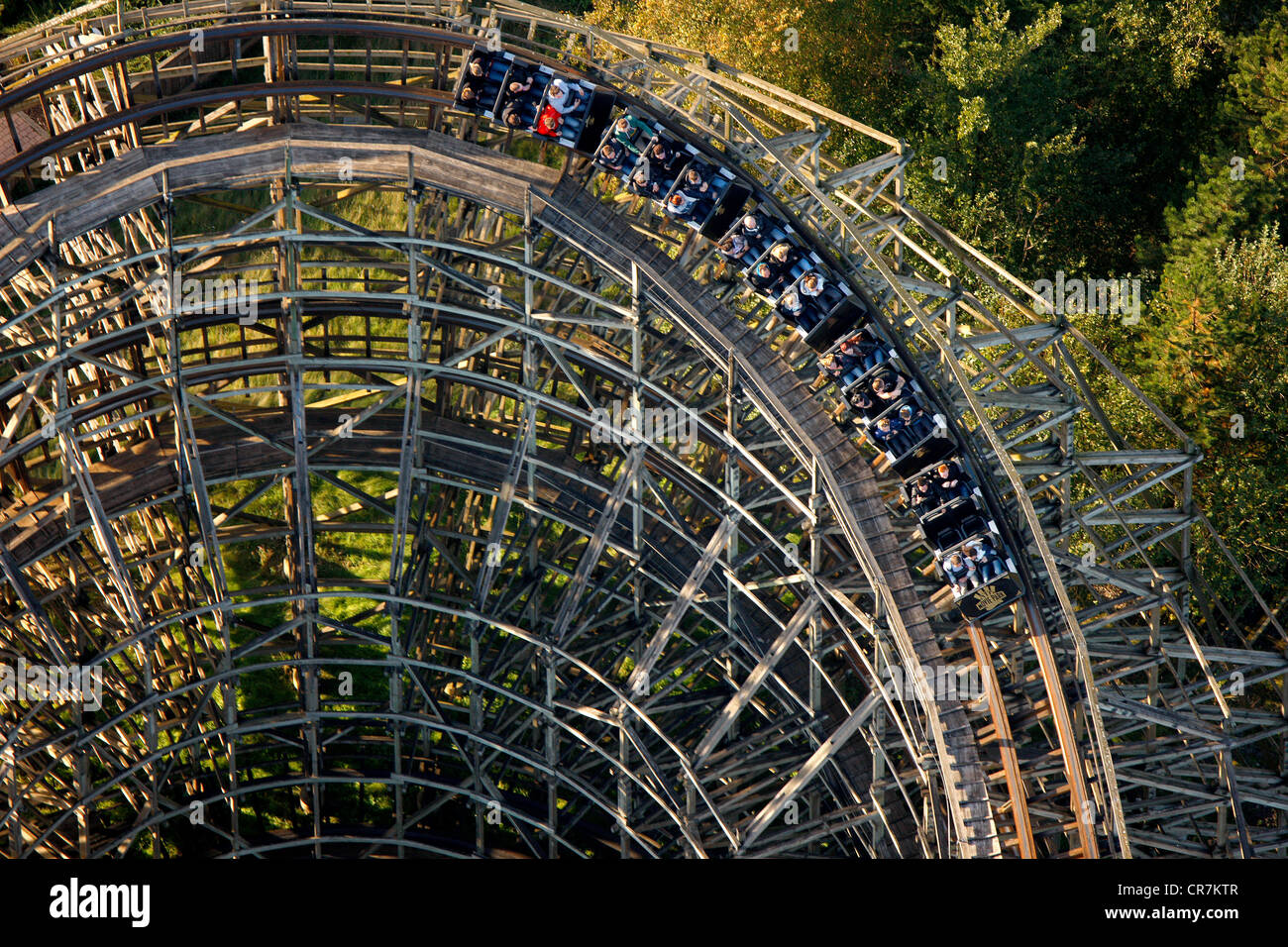 aerial view wooden roller coaster the bandit movie park germany stock photo royalty free. Black Bedroom Furniture Sets. Home Design Ideas