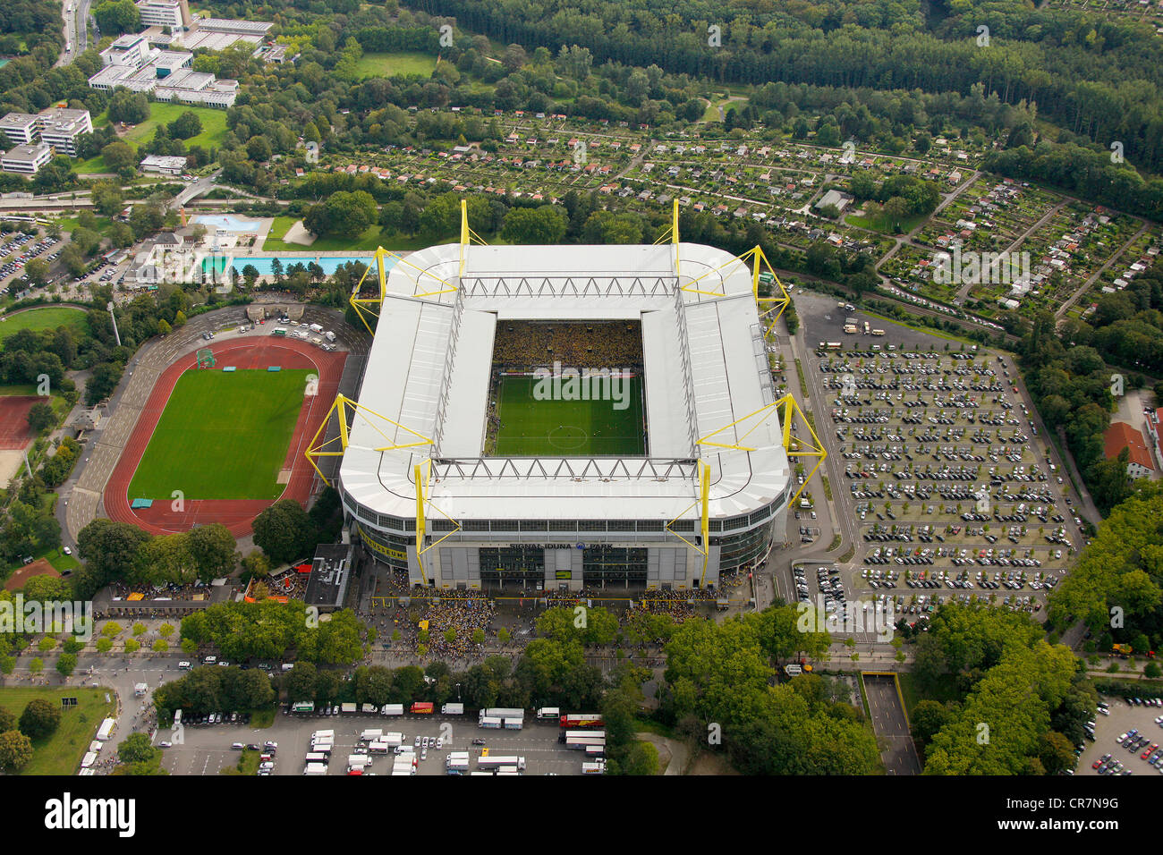 aerial view westfalenstadion football stadium signal iduna park stock photo royalty free. Black Bedroom Furniture Sets. Home Design Ideas