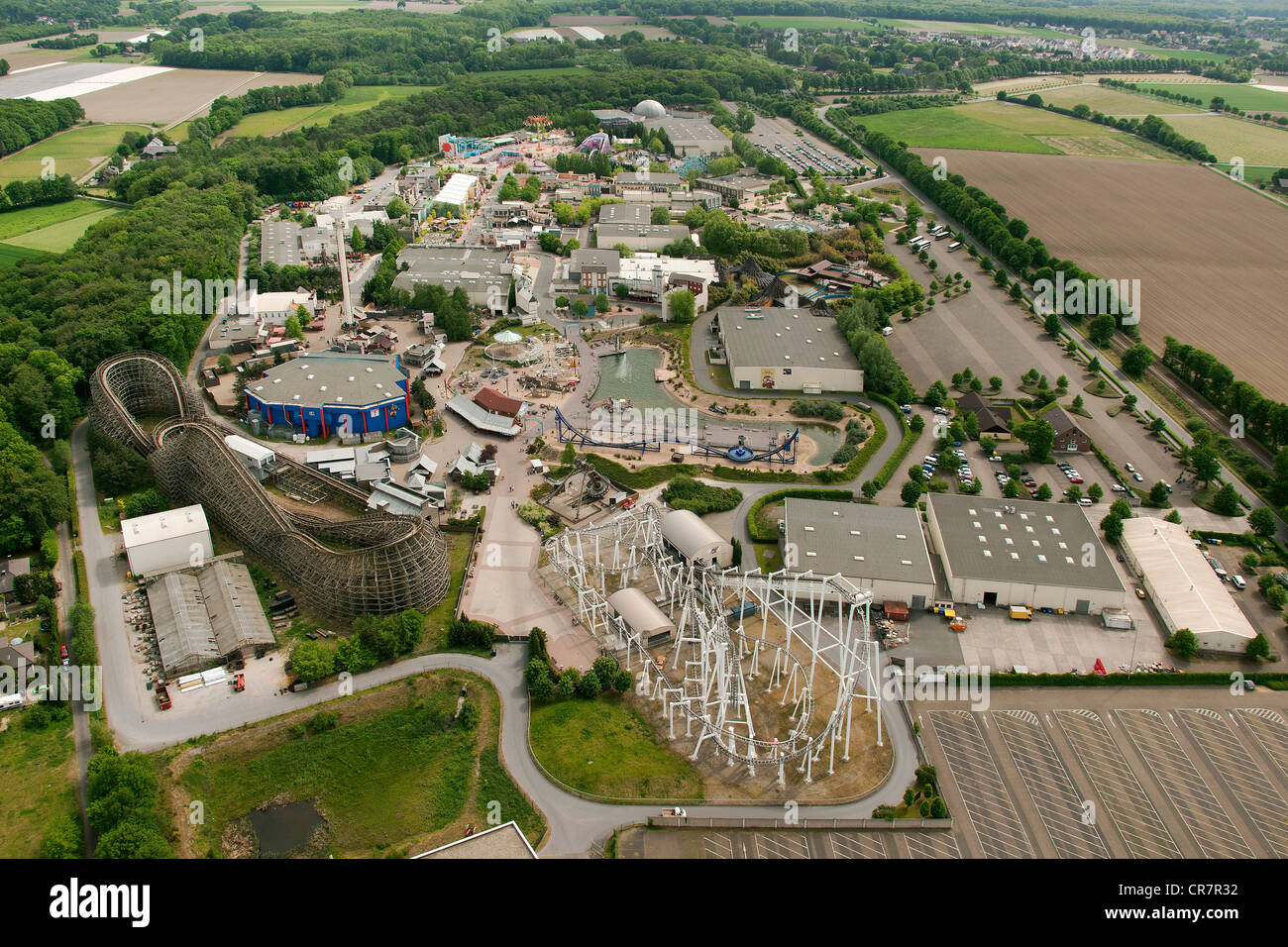 aerial view movie park germany theme park roller coaster near stock photo royalty free image. Black Bedroom Furniture Sets. Home Design Ideas