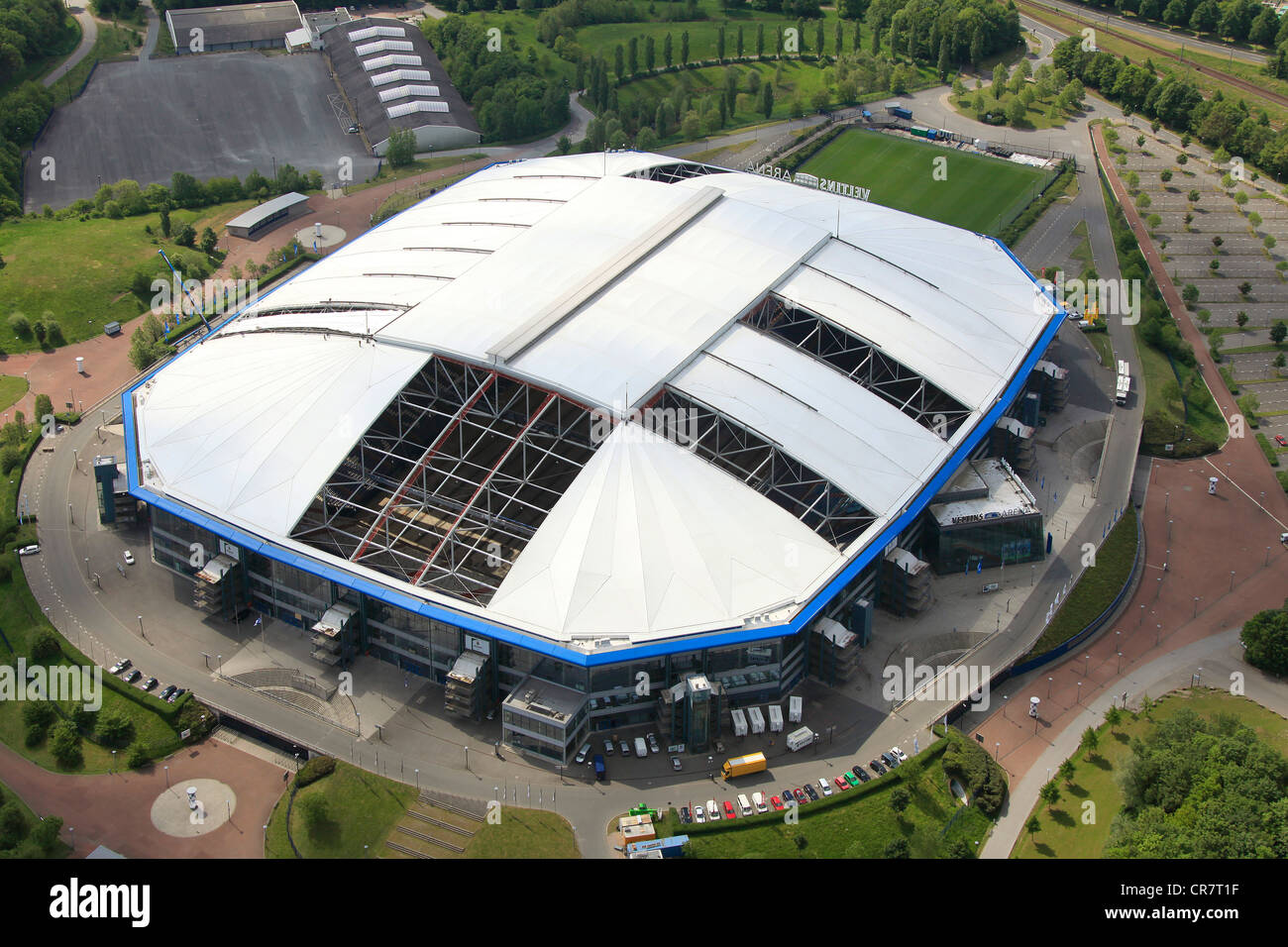 Aerial view Veltins-Arena football stadium roof of the Arena AufSchalke stadium being repaired ripped canvas roof : canvas roof - memphite.com
