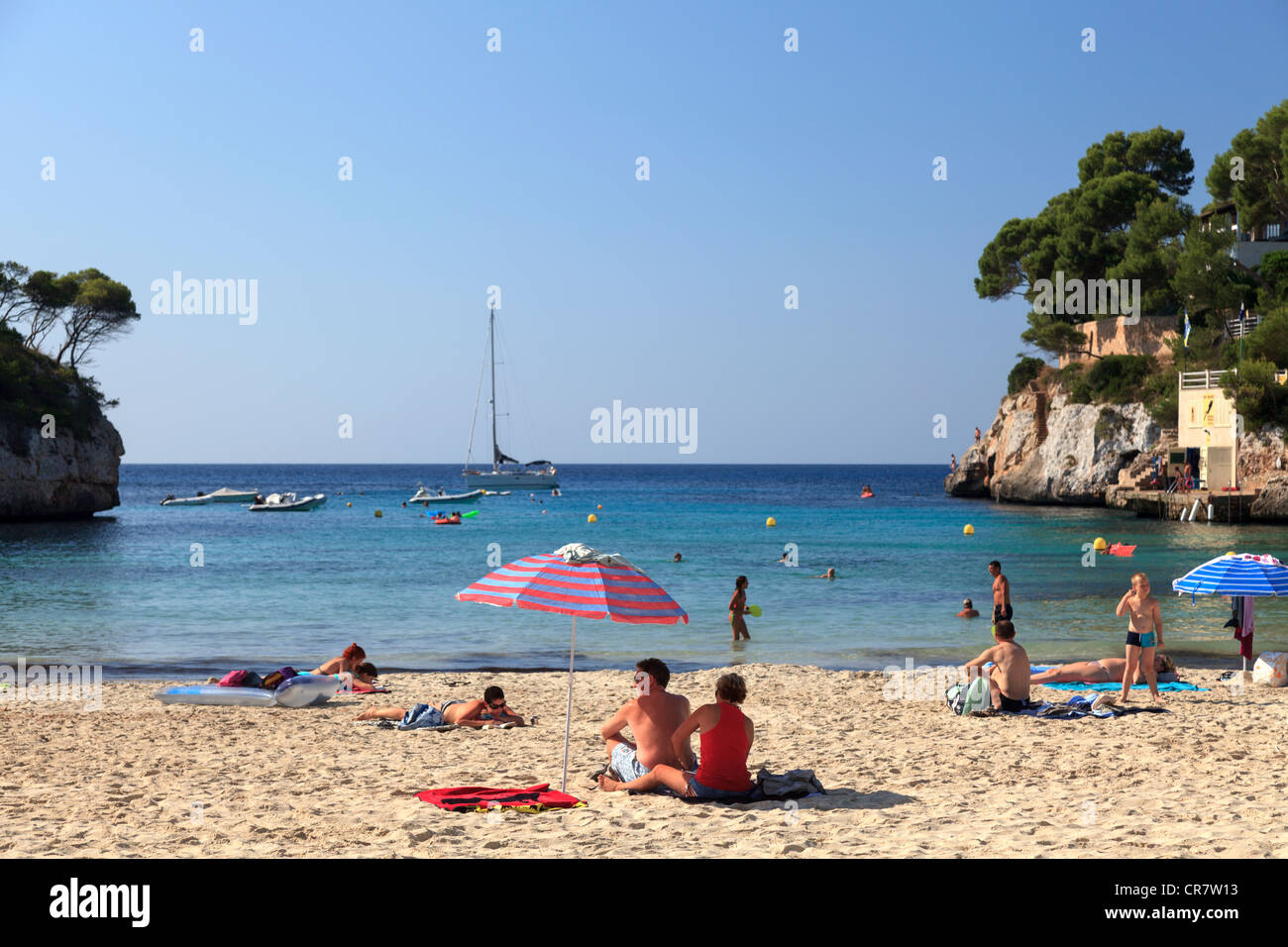 spain balearic islands mallorca cala santanyi beach stock photo royalty free image 48731119. Black Bedroom Furniture Sets. Home Design Ideas