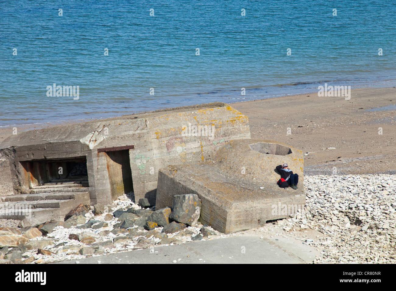 France basse normandie calvados 14 grandcamp maisy bain de stock photo - Bain de soleil solde ...