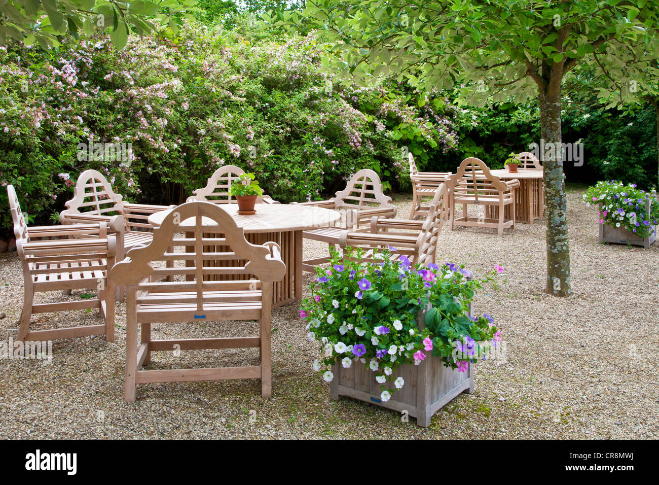 View Of The Outdoor Seating On The Gravel Terrace Of Littlecote Manor In Berkshire England