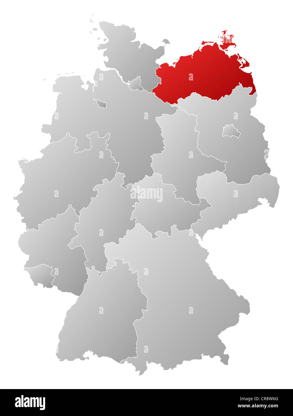 Political map of germany with the several states where stock photo political map of germany with the several states where mecklenburg vorpommern is highlighted gumiabroncs Image collections