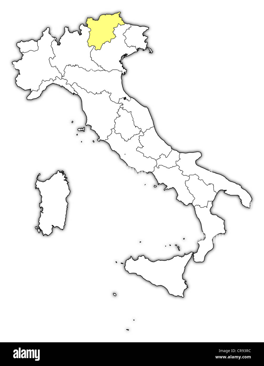 Political map of Italy with the several regions where TrentinoAlto
