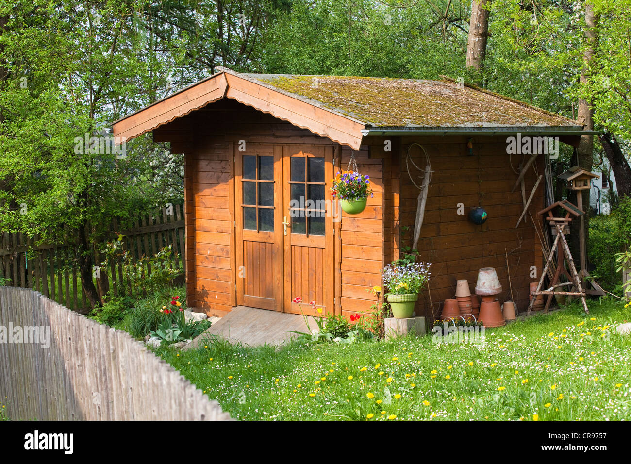 Garden Sheds Wooden wooden garden shed in garden, upper bavaria, germany, europe stock