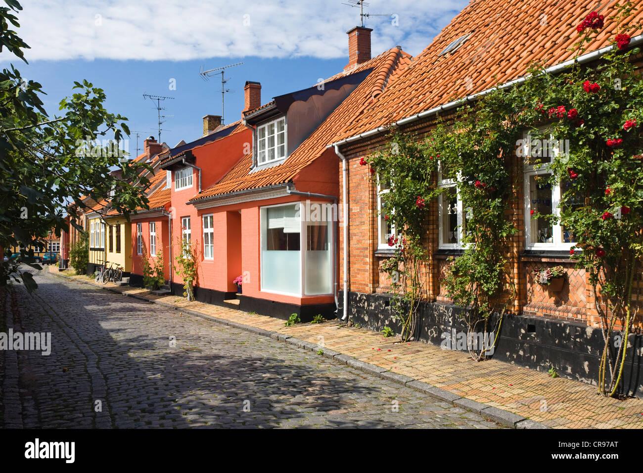 timber framed houses in rønne bornholm denmark europe stock