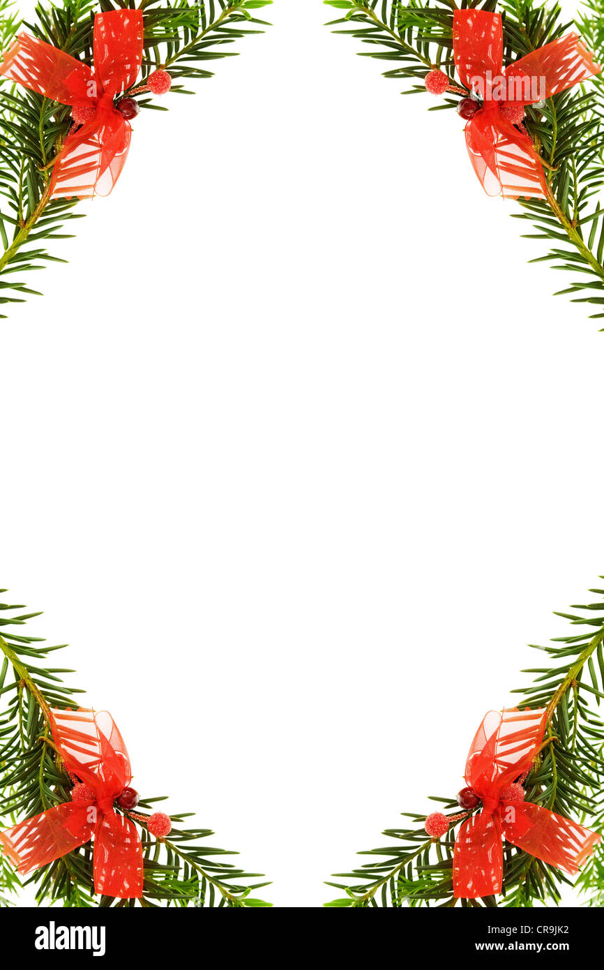 Christmas greeting card with festive pine tree border with red christmas greeting card with festive pine tree border with red ribbons decorations isolated on white background kristyandbryce Choice Image