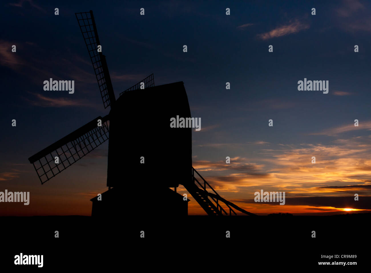 silhouette-view-of-brill-windmill-buckin