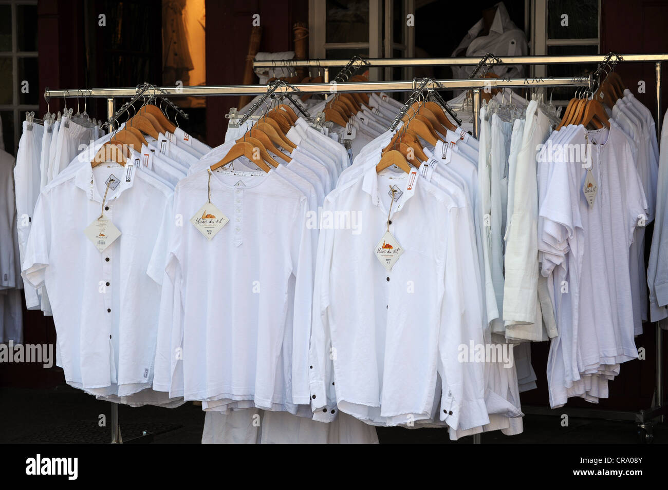 All white shirts on sale 'Blanc du Nil' Stock Photo, Royalty Free ...