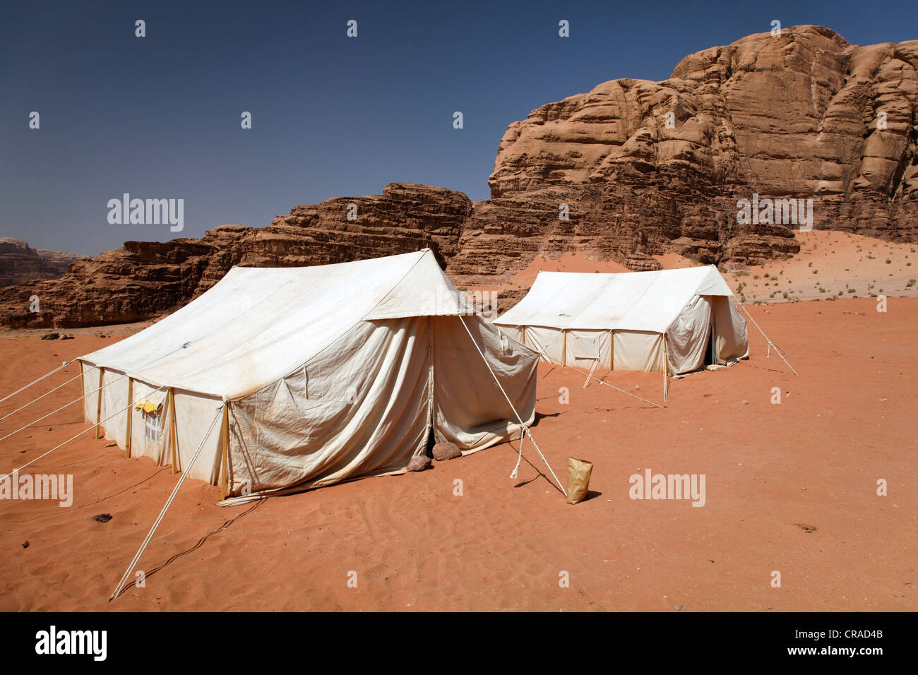 C& for tourists tents mountains desert nature preserve Wadi Rum Hashemite Kingdom of Jordan Middle East Asia & Camp for tourists tents mountains desert nature preserve Wadi ...