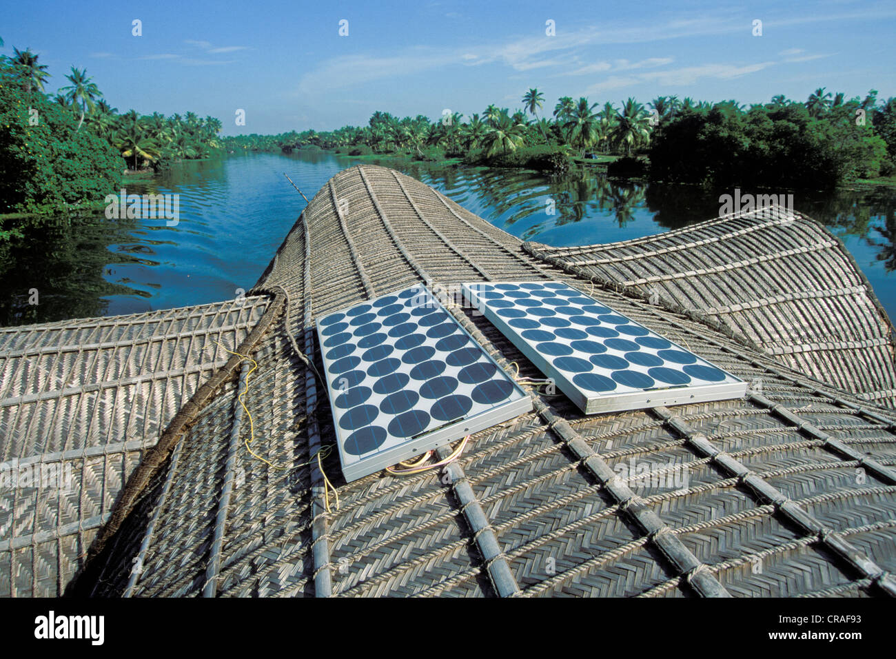 Roof Of A Houseboat With Solar Panels Backwaters Kerala