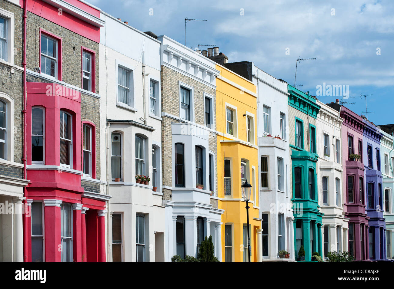 colourful terraced houses portobello road notting hill london stock photo royalty free image. Black Bedroom Furniture Sets. Home Design Ideas