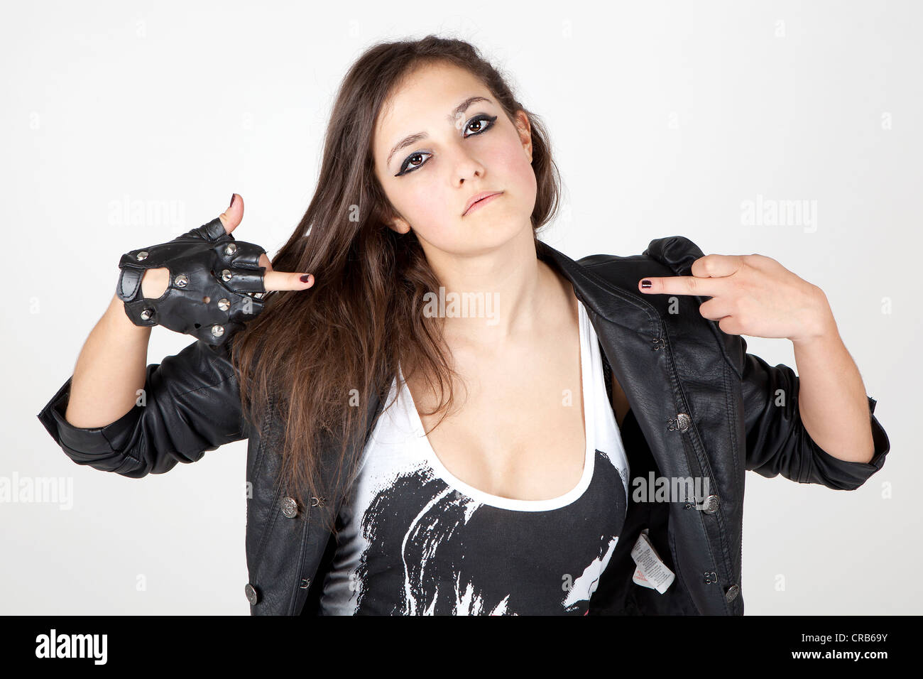 Ladies leather gloves cape town - Young Woman Wearing A Leather Jacket With A Cool Pose Stock Image