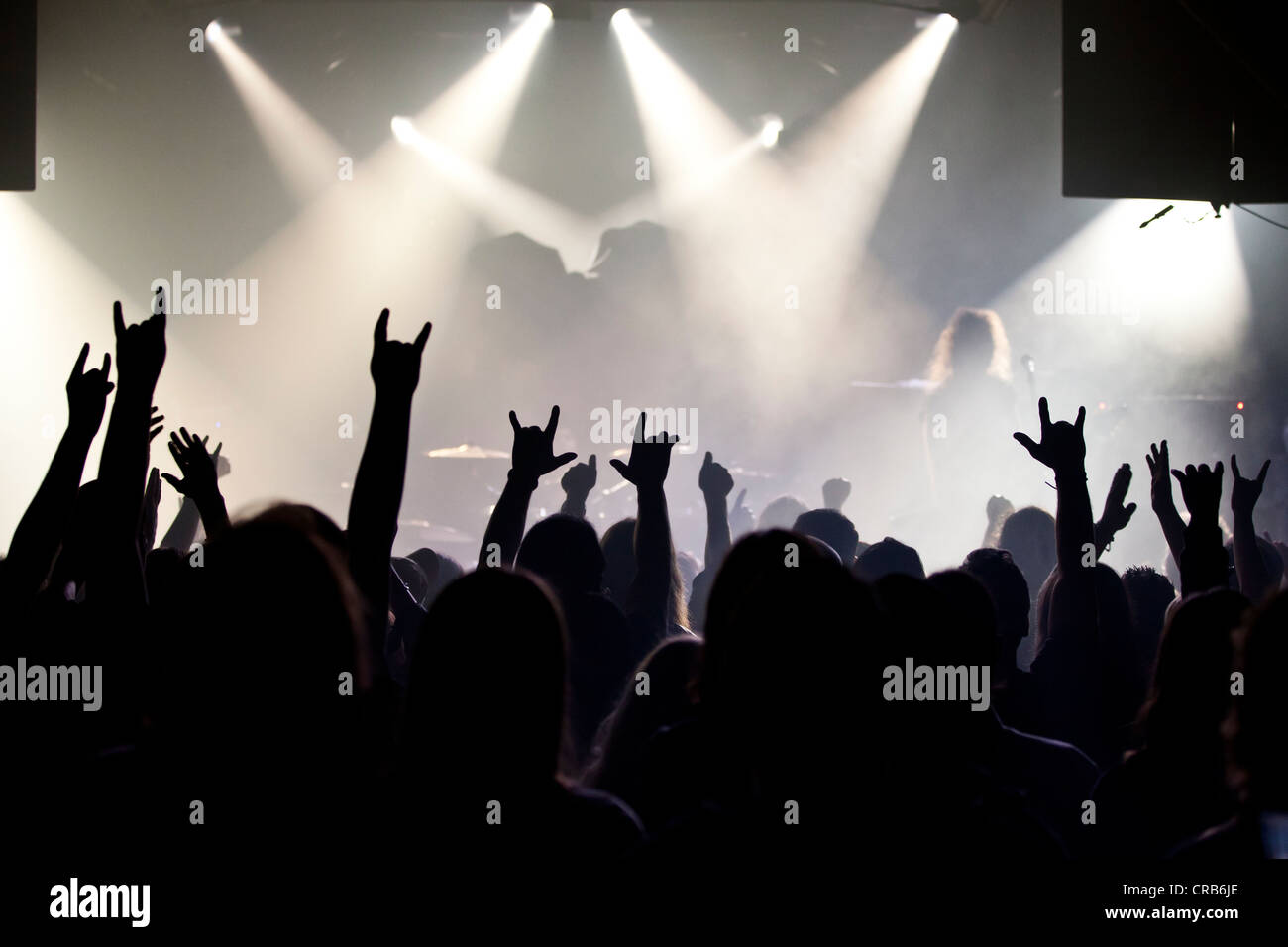 Concert Goers Audience Holding Up Their Hands Stock