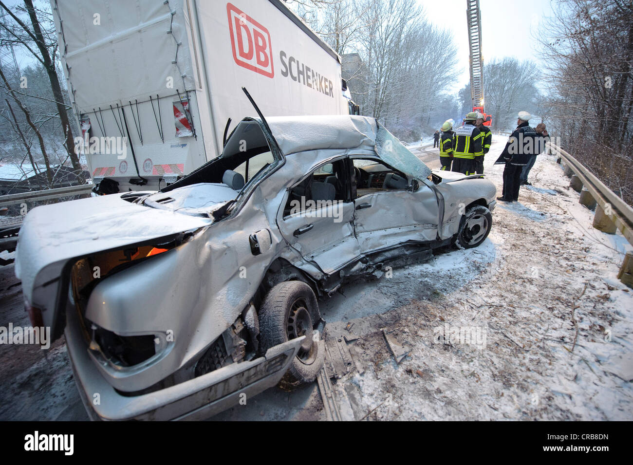 fatal car accident on the slippery snow of an icy road an e class