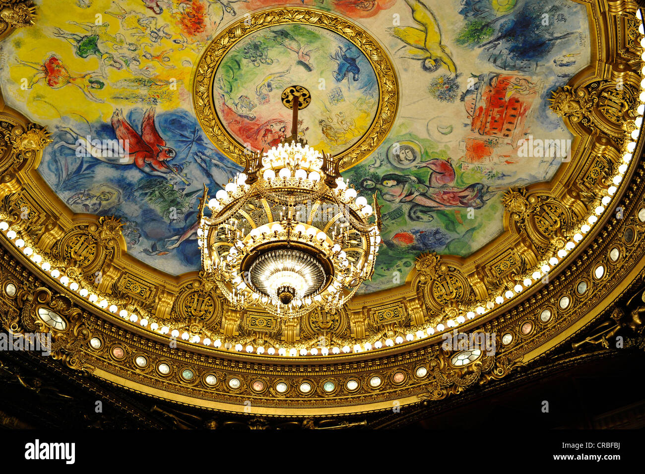 Interior crystal chandelier and ceiling painting Apollo with the – Painting of Chandelier