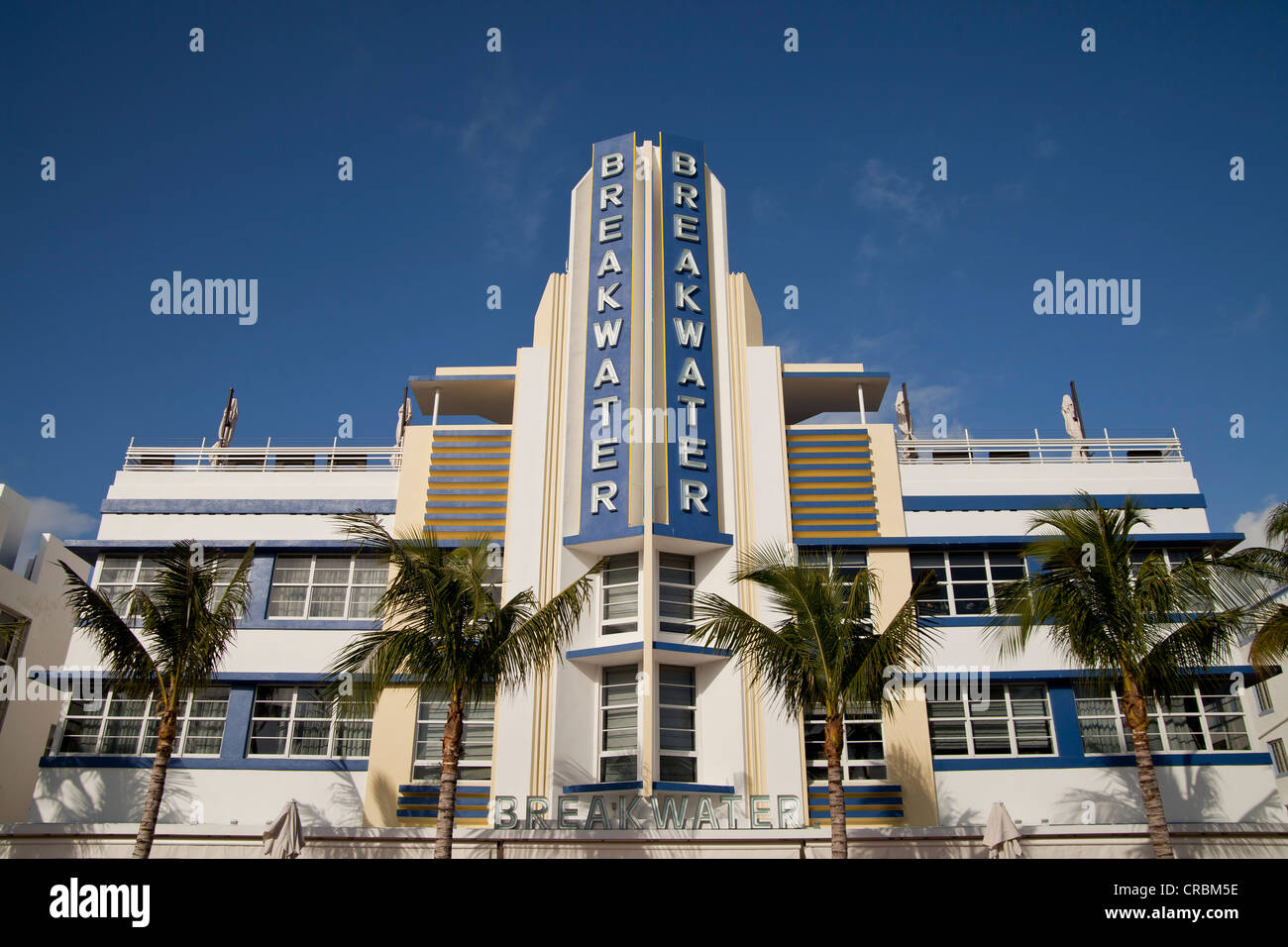 breakwater art deco hotel on famous ocean drive in south beach miami stock photo royalty free. Black Bedroom Furniture Sets. Home Design Ideas