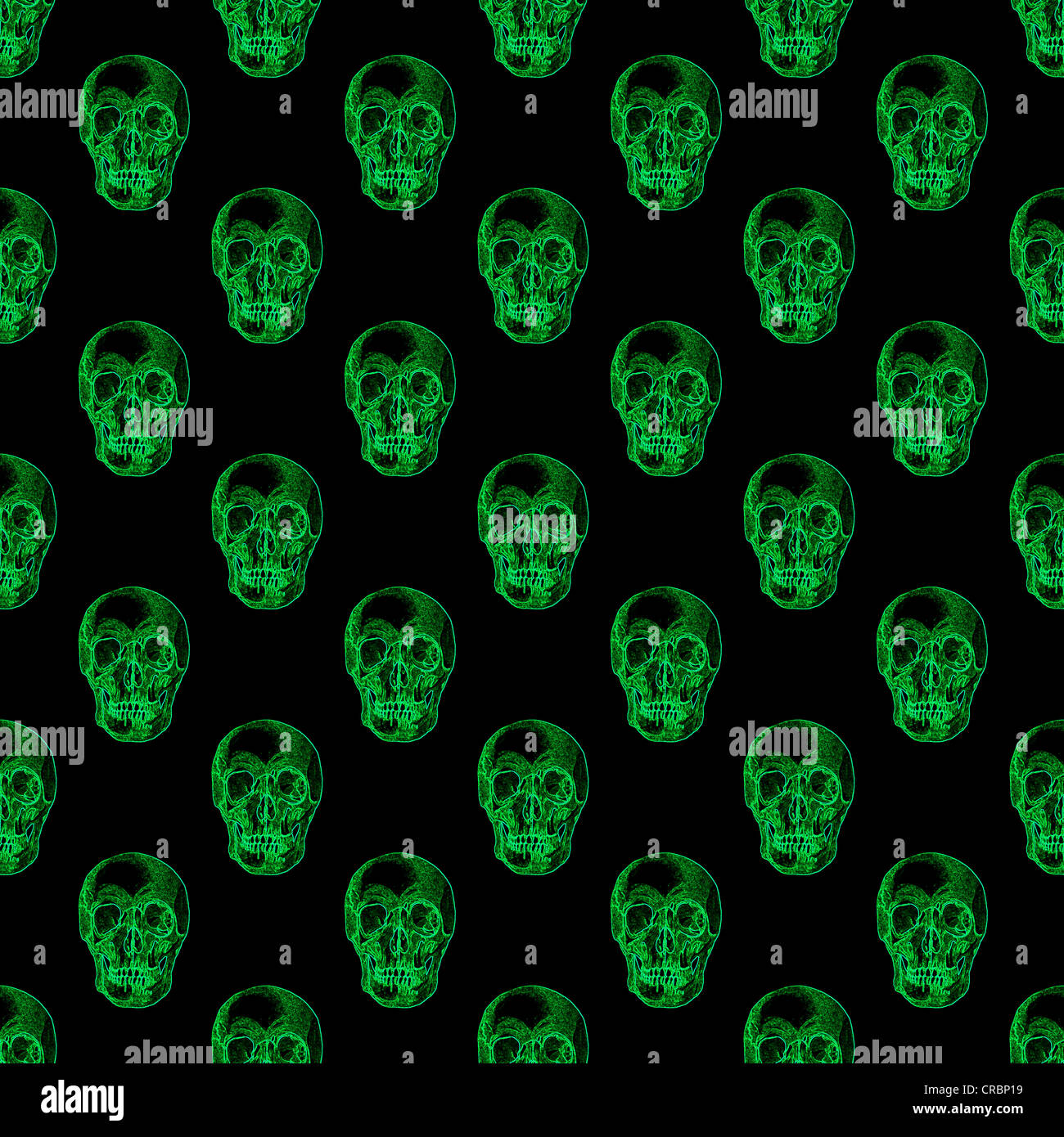 Repeat pattern of glowing green skulls on a black ...