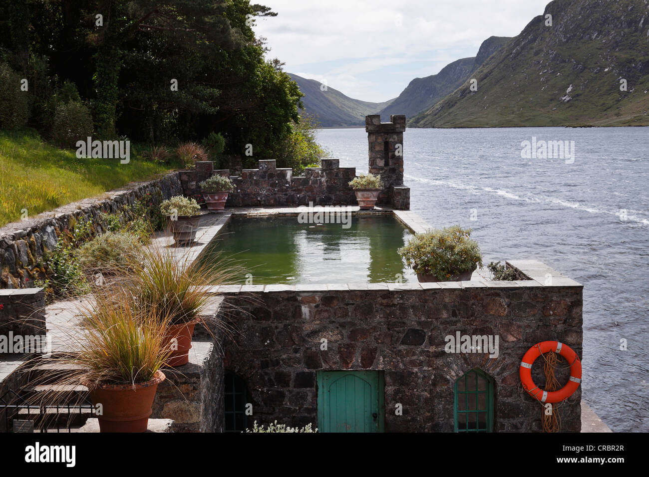 Pool and boathouse on lough veagh glenveagh castle and for Castle gardens pool