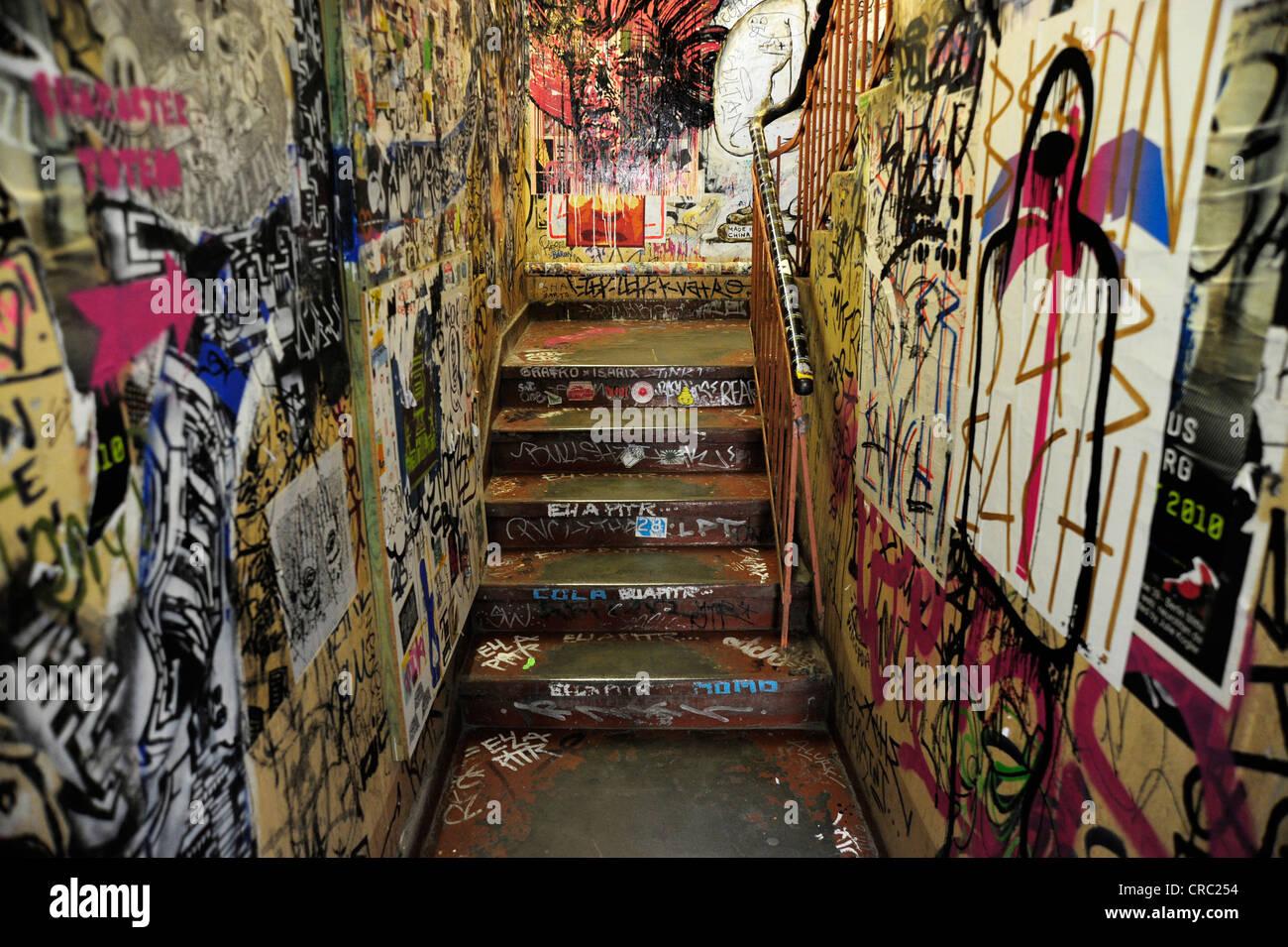 Staircase with graffiti schwarzenberg house rosenthaler strasse berlin mitte germany europe