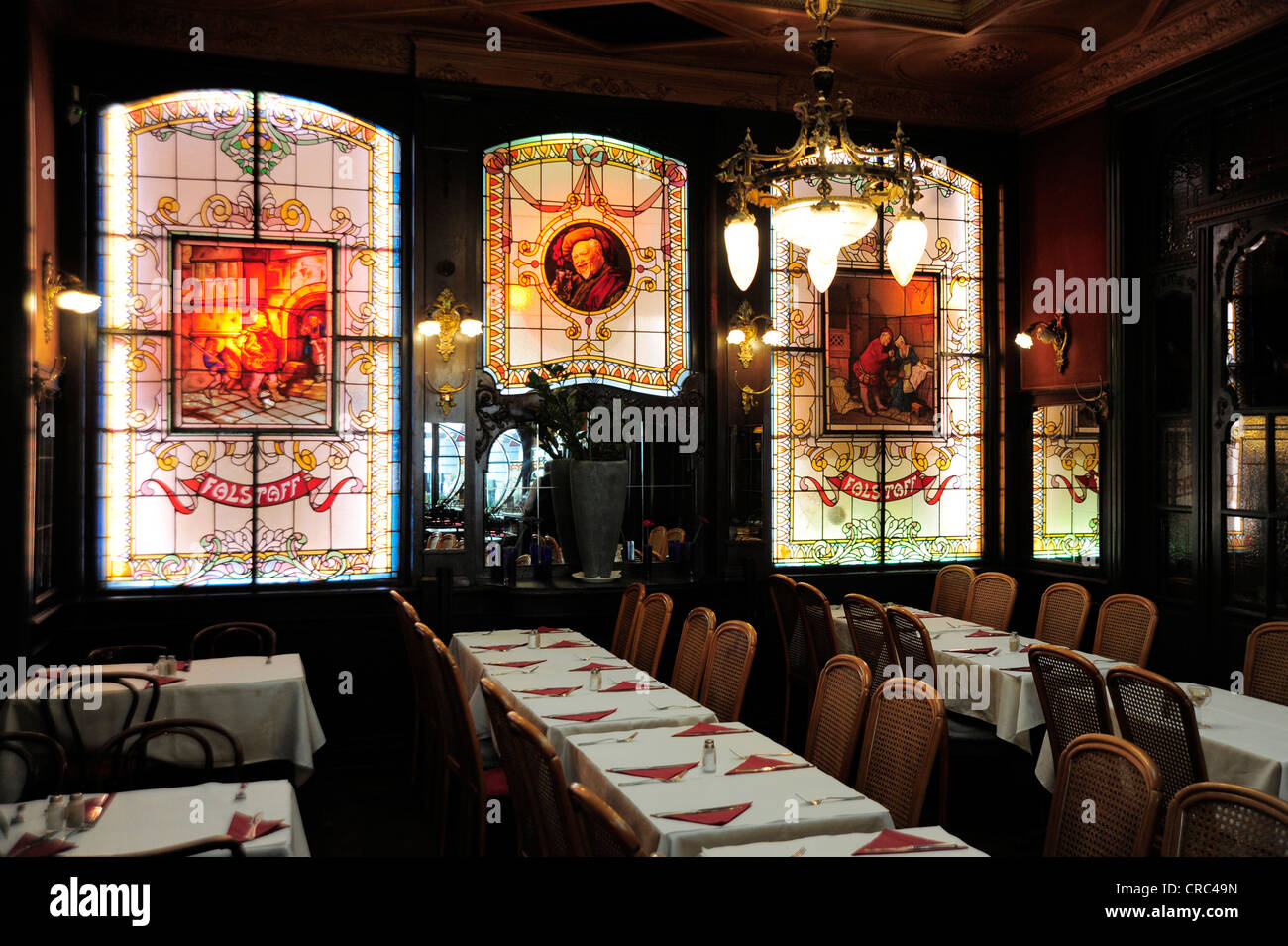 Art Nouveau cafe and restaurant Le Falstaff, interior decoration ...