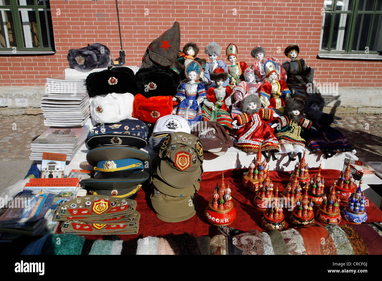 Souvenirs Soldiers Hats And Dolls St Petersburg Russia