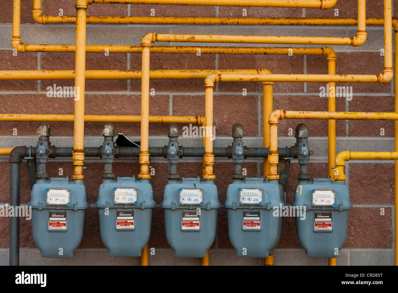 Five Enbridge Gas Meters A Row Of Gas Meters Connected By A Maze Of Yellow