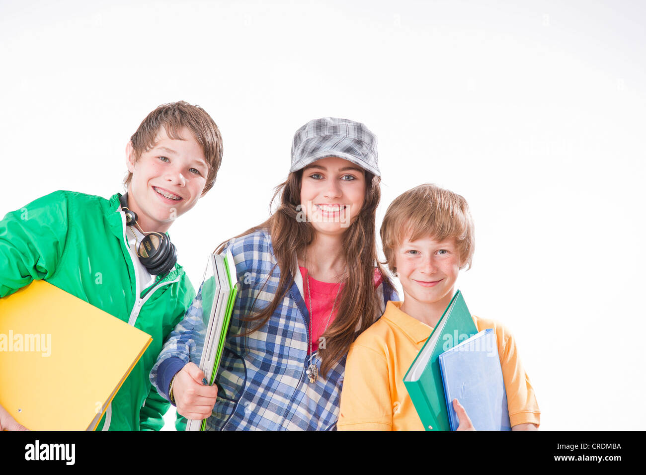 Three Friends, One Girl And Two Boys, With Folders
